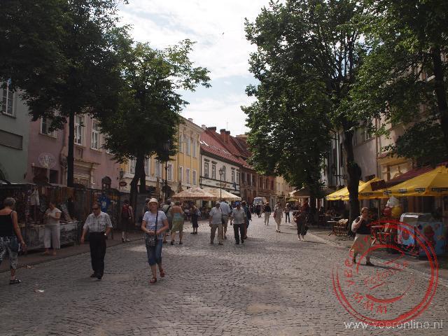 De gezellige straat Pilies in het centrum van Vilnius