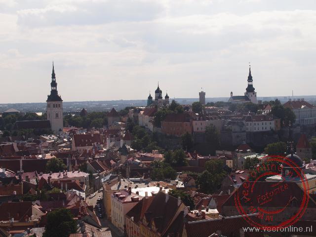 Uitzocht over de stad Tallinn vanaf de Olafskerk