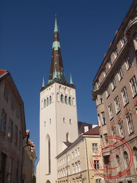 De hoge torenspits van de Olafskerk steekt hoog boven Tallinn uit