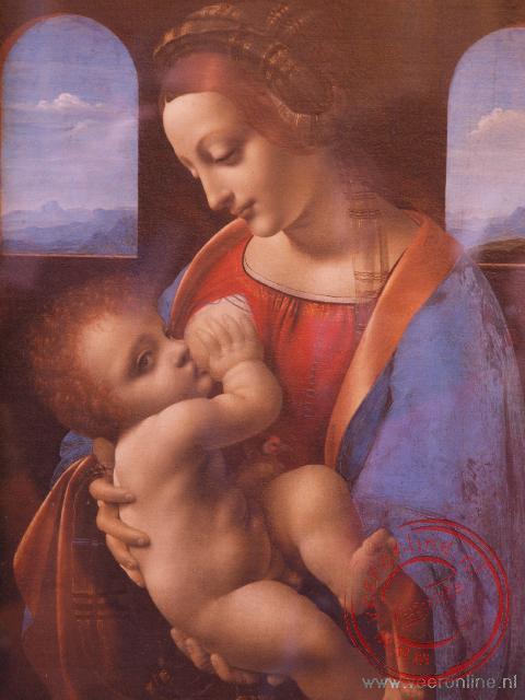 Het schilderij 'De Madonna Litta' van Leonardo Da Vinci in de Harmitage
