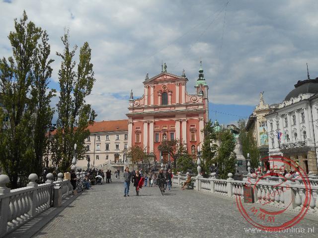 De drie bruggen in de Sloveense hoofdstad Ljubljana