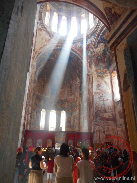 Er wordt een dienst gehouden in de Bagrati kathedraal