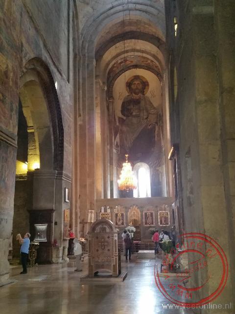 Het interieur van het Samtavro klooster