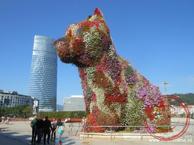 De tien meter hoge puppy hond bewaakt de ingang van het Guggenheim museum