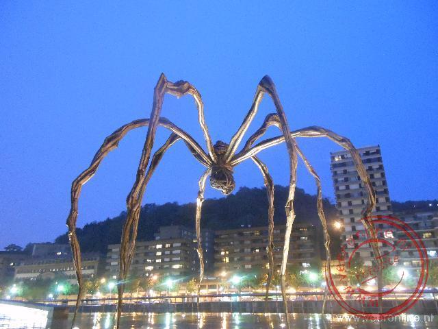 Het kunsterwerk Maman spin komt s avonds bijna tot leven