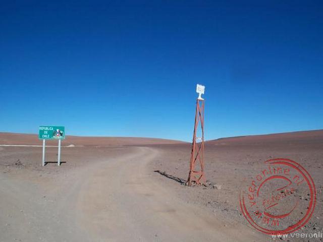 De grens tussen Chili en Bolivia op ruim 4.000 meter hoogte