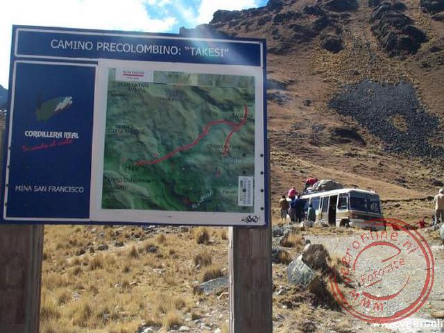 Het beginpunt op 4.200 m. van de Takesitrail