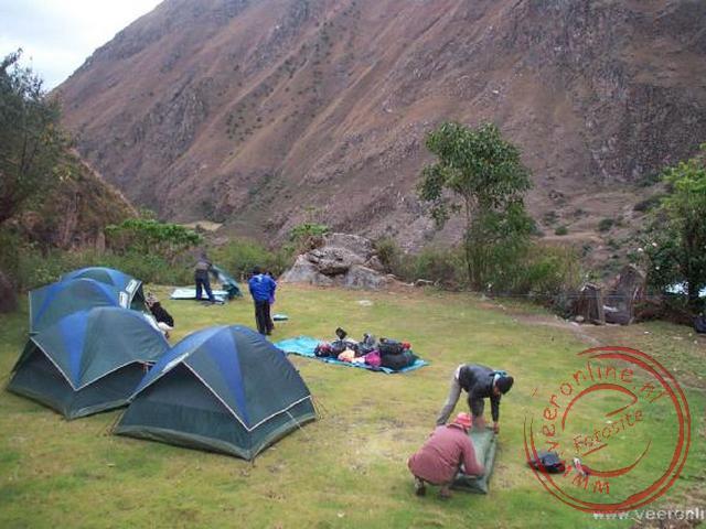 De eerste overnachtingsplaats tijdens de Inka-trail in Wayllabamba (op 3.000 meter)