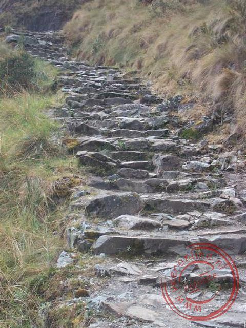 De trappen van de Inka-trail naar de top van de Warmiwanusca, de eerste pas, op 4.200 meter. De pas is ook wel bekend als de dead-woman-pass omdat de
