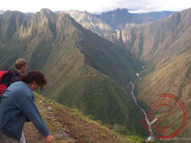 Uitzicht op de Urubamba-rivier door de vallei