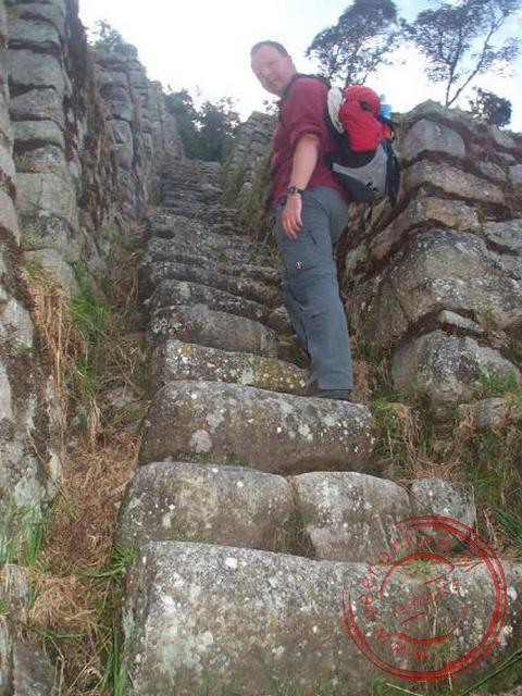 De trappen bij de inka-terrassen van Winaywayna