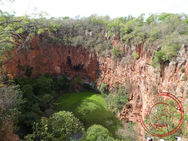 Vogels schuilen in de honderd meter diepe sinkhole