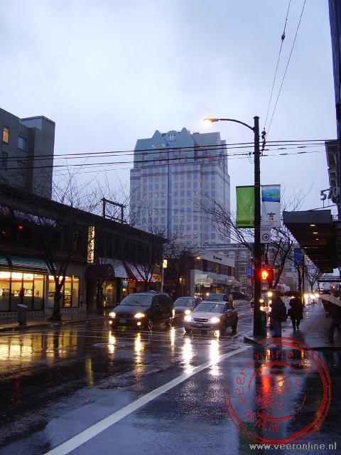 Regen is niet ongebruikelijk in de straten van downtown Vancouver