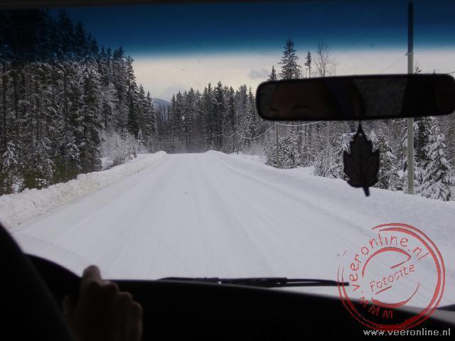 De toegangsweg in het Wells Gray Provincial Park