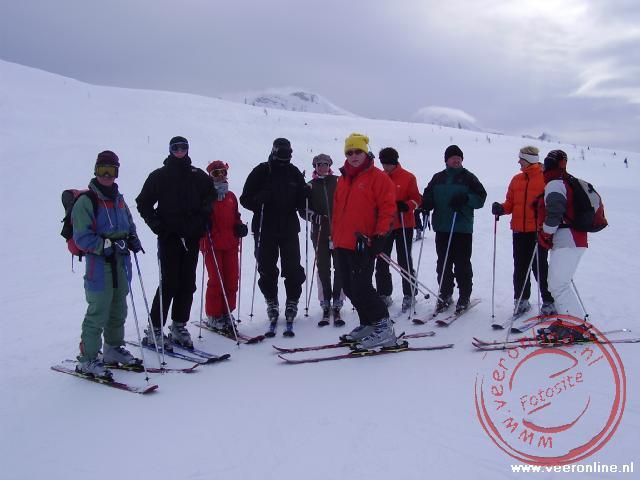 De groepsfoto tijdens het skien Sunshine Banff