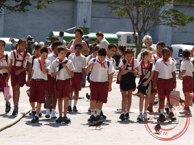 Schoolkinderen op de Plaza de San Francisco