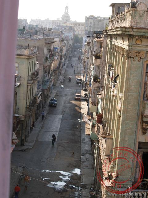 Het uitzicht vanuit het hotel op de ietwat vervallen wijk Centro Habana