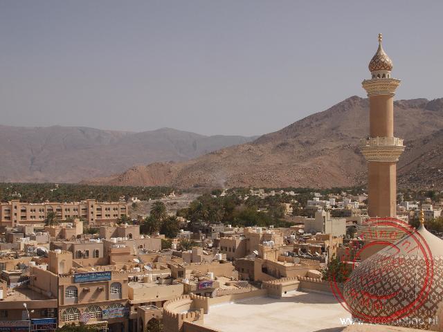 Uitzicht op het stadje Nizwa en de moskee van Nizwa