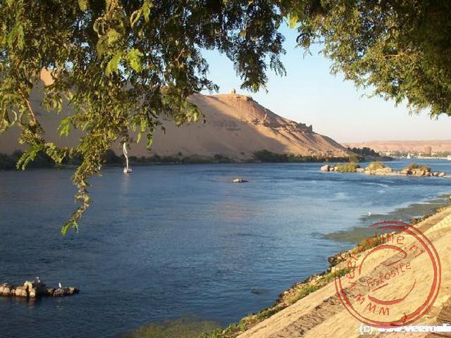 vanaf het botanische eiland van Kitchener hebben we een mooi uitzicht over de Nijl