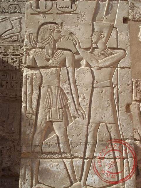 De offering aan de god Amun Ra