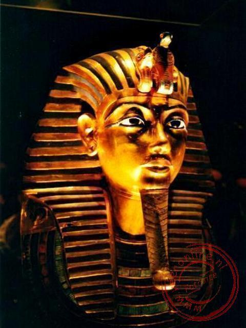 Het dodenmasker van Toetanchamon in het Egyptisch museum (foto: Rene en Jacqueline)