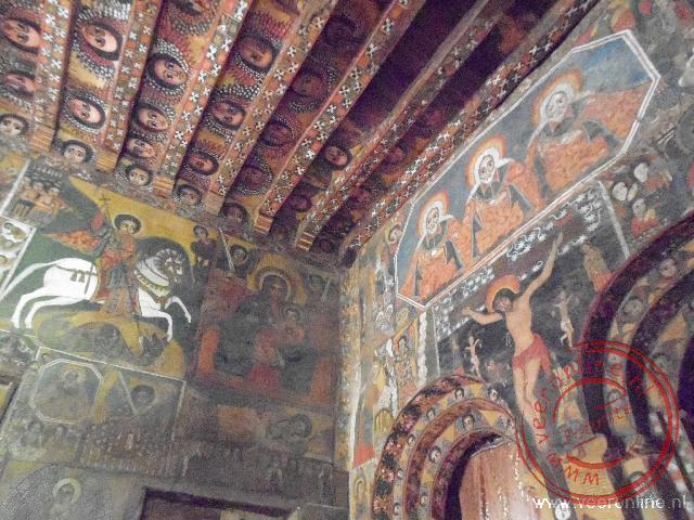 Rondreis mythisch Ethiopië - Het interieur van de Orthodoxe Church of Debra Berhan Selassie