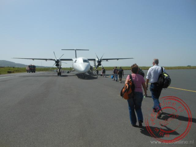 Met het propellervliegtuig naar Lalibela