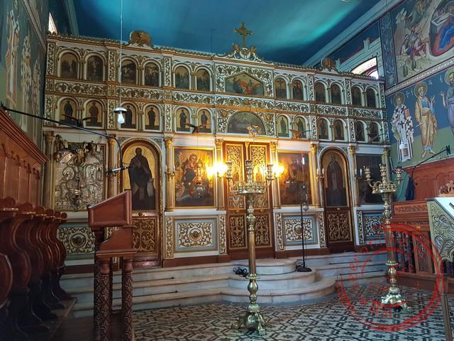 De Iconostase van de kerk in Spartohori
