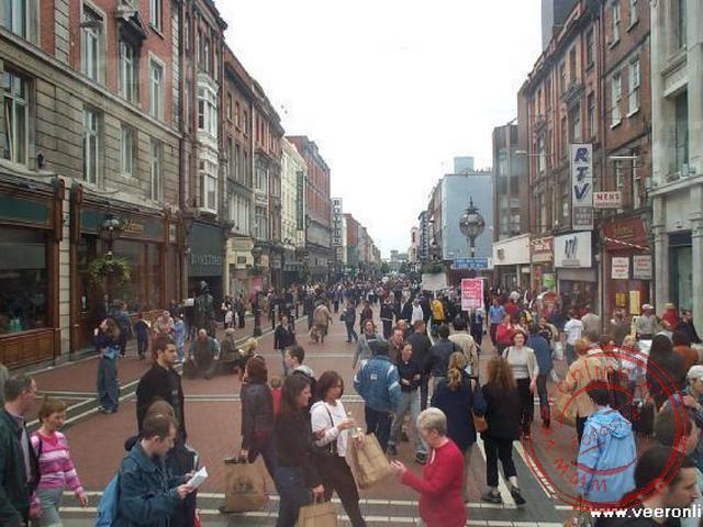 De winkelstraat van Dublin