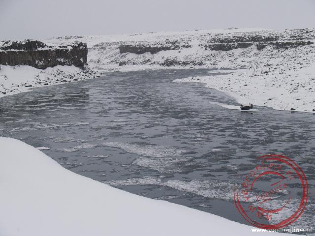 Het ijswater in de rivier