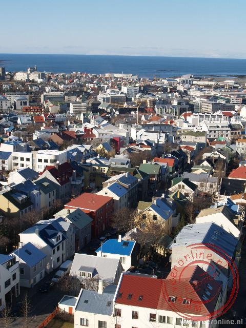 Het uitzicht op het centrum van Reykjavik