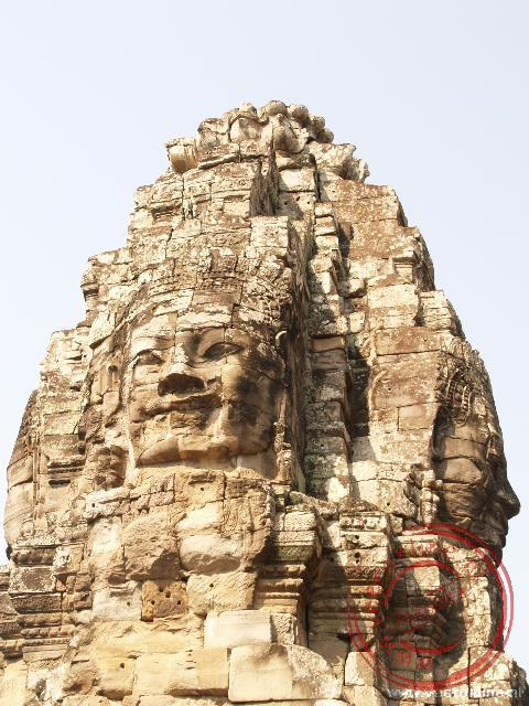 De glimlachtende Boeddha's in de Bayon tempel