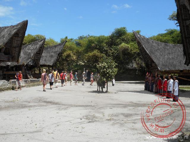 Een traditionele Batak dans bij het open lucht museum van Simanindo