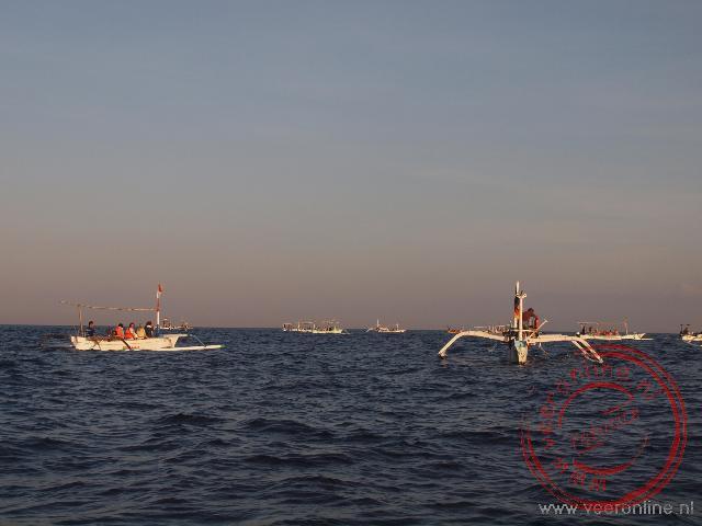 Vissersboten rond de plek waar dolfijnen samen komen