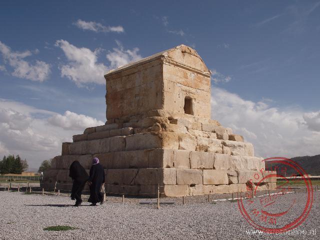 De Tombe van Cyrus the Great in Pasargadae. Cyrus is hier zo'n 2.500 jaar geleden begraven.