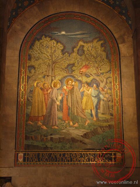 Het schilderij van de kus van Judas in de Kerk van Alle Naties