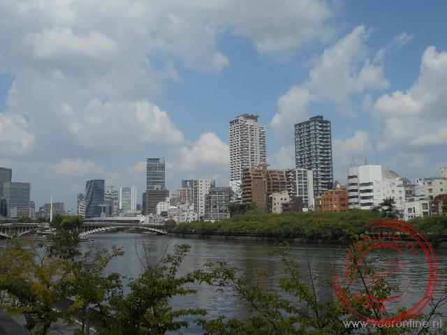 Het Nakanoshima park op het eiland in de rivier van Osaka