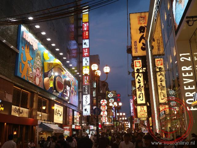 De uitgaanswijk in Osaka