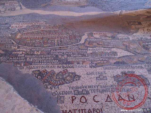 In de Grieks-Orthodoxe Sint-Georgiuskerk in Madaba is de oude kaart van Palestina in mozaïek weergegeven