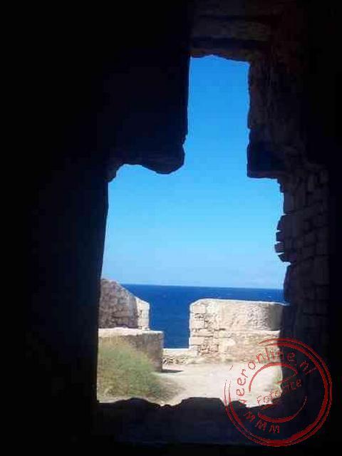 De vesting van Rethymnon met uitzicht op zee