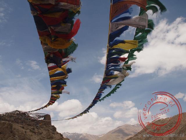 Talrijke gebedsvlaggen wapperen in de wind in Leh