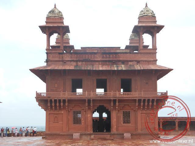 De koninklijke troon in het Fatehpur Sikri Fort