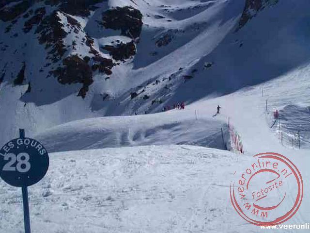 De blauwe skiweg achterom