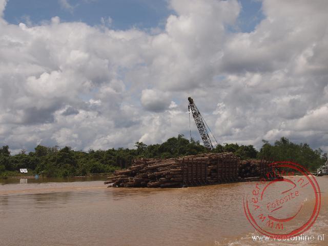 Vele houten boomstammen worden via het water afgevoerd. Je vraagt je soms af of er stroomopwaarts nog bomen staan.