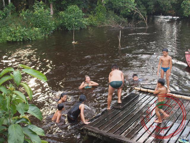 Kinderen van de Iban familie zoeken verkoeling in het water