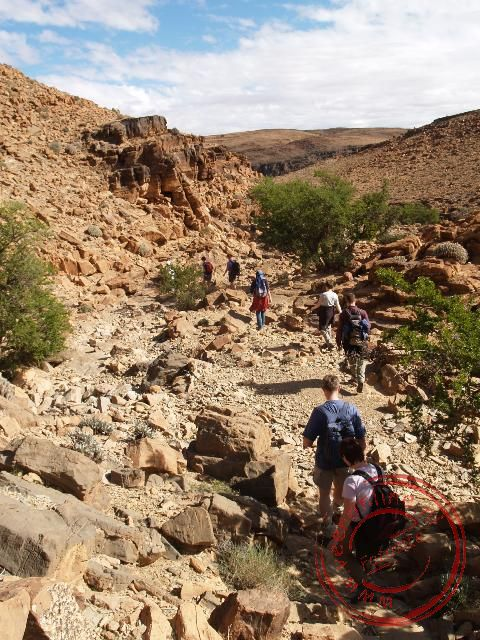 Een spectaculaire afdeling in de kloof tijdens de bergwandeling