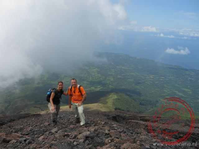 Uitzicht over Isla de Ometepe van boven de kilometergrens