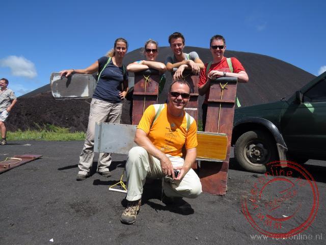 Klaar voor de beklimming van de Cerro Negra vulkaan