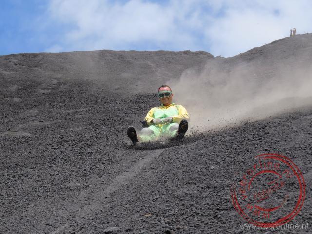 Glijden van de Cerro Negro vulkaan