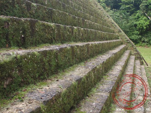 De gerestaureerde trap van tempel V in Tikal
